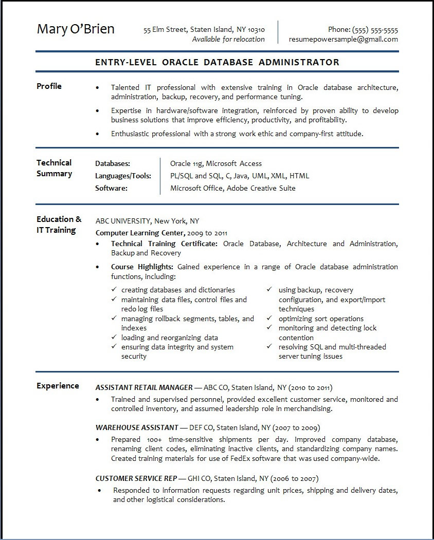 Oracle Database Administrator Sample Resume – Resume Samples Entry Level