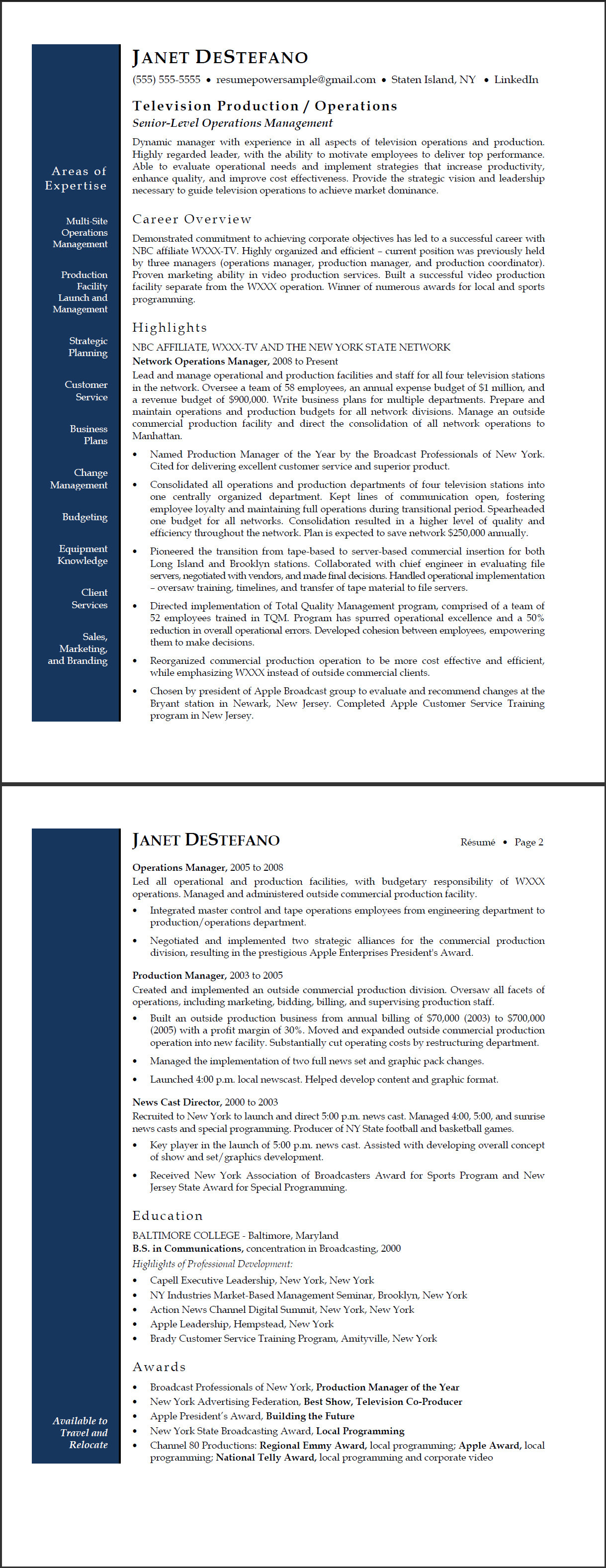 tv network operations manager sample resume