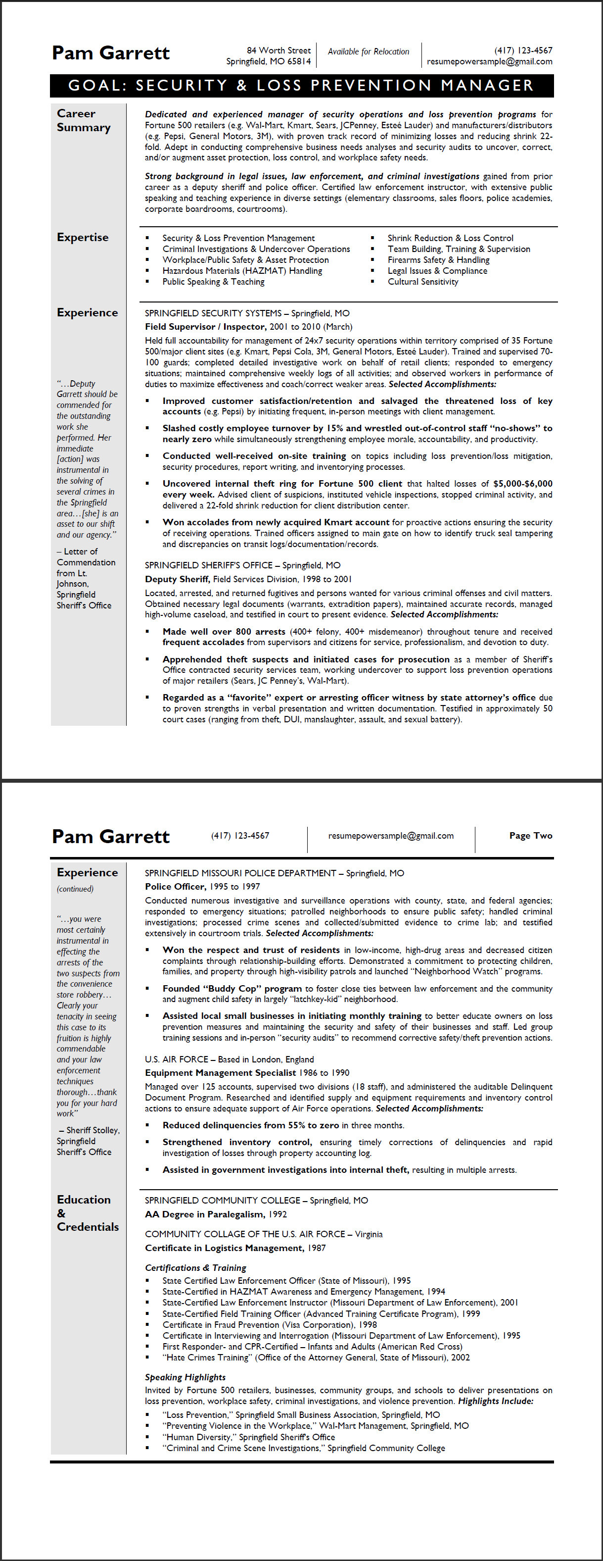 loss prevention manager sample resume