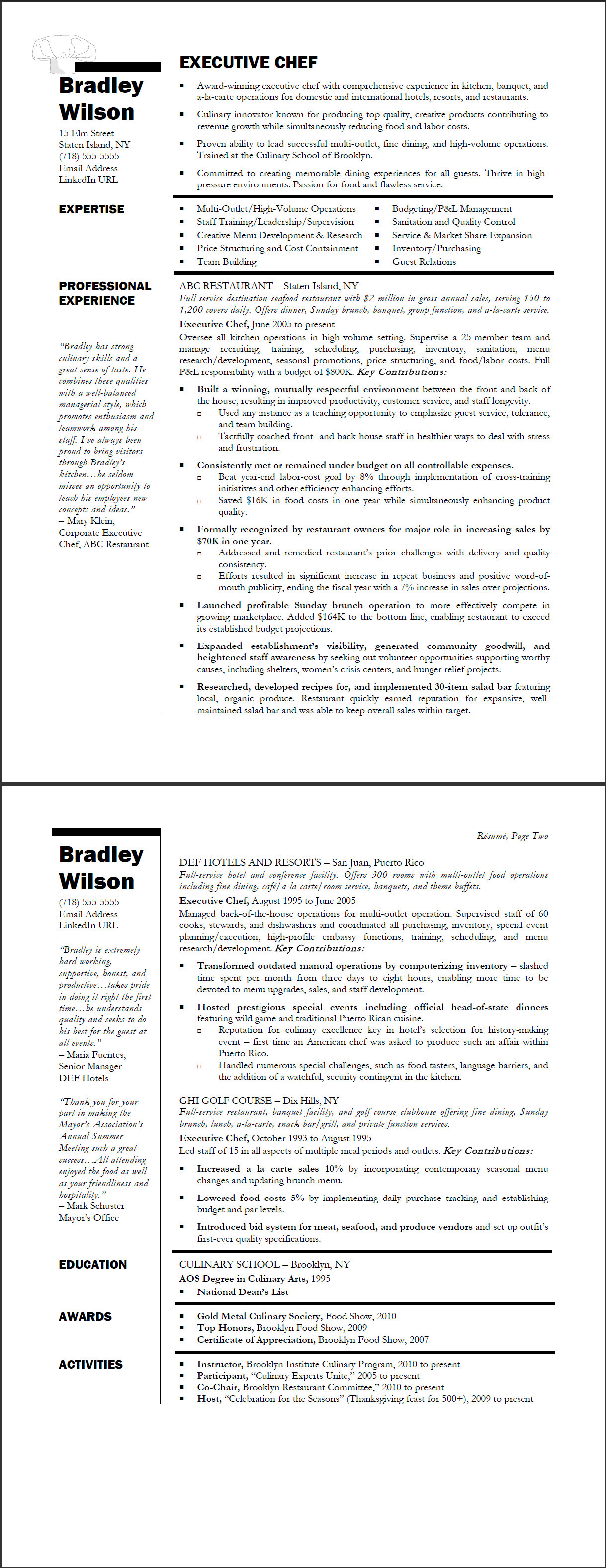 executive chef sample resume - Sample Picture Of A Resume