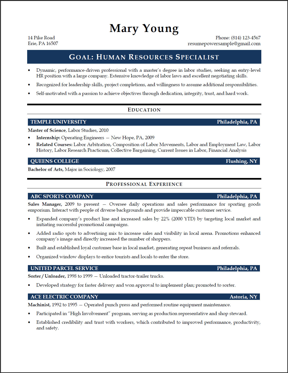 HR Specialist Sample Resume