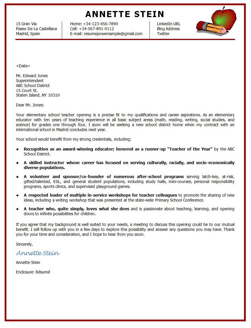 Elementary Teacher Cover Letter Template Cover Letter Examples – Sample Elementary Teacher Cover Letter