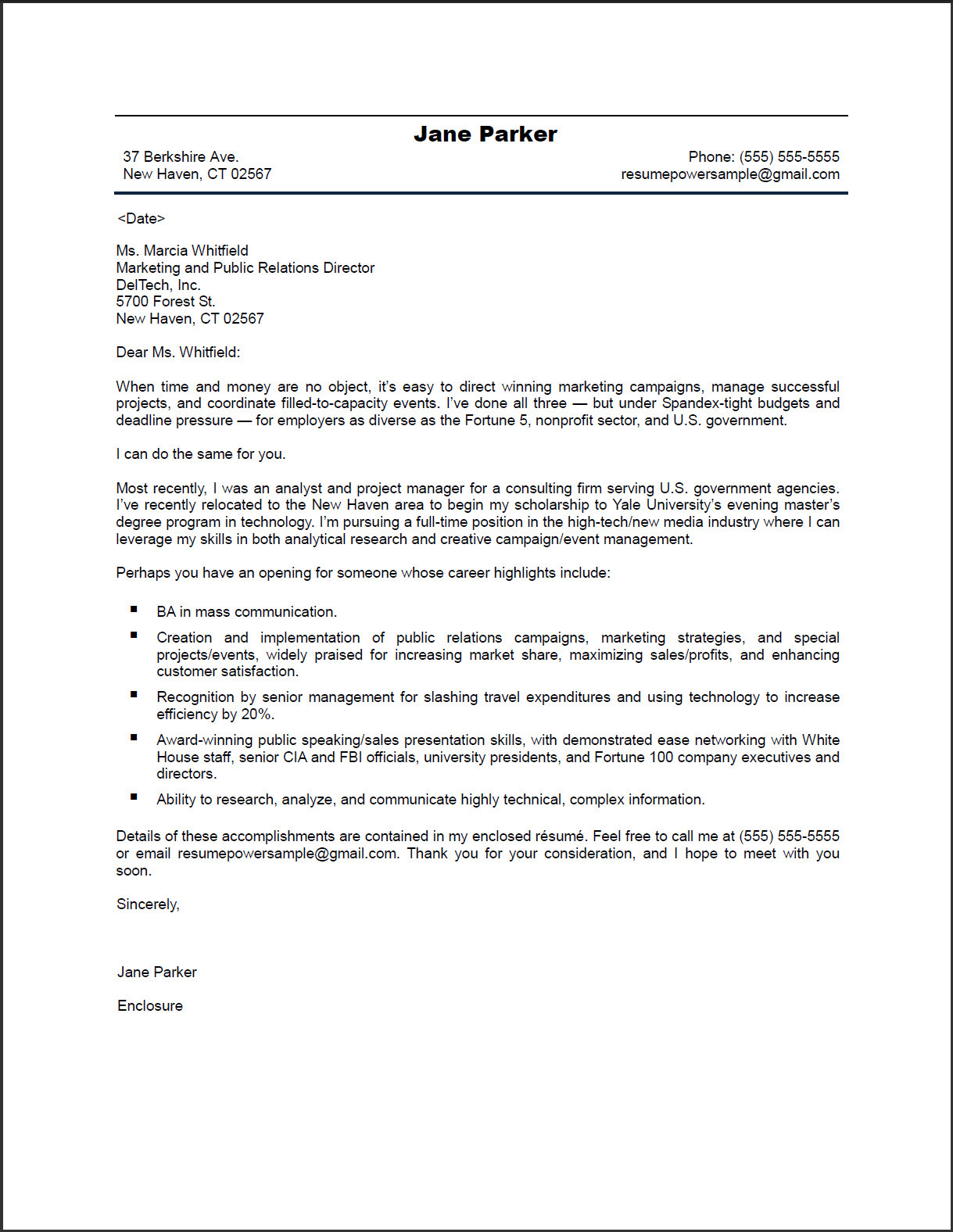 Cover Letter Sample Public Relations  EczaSolinfCo