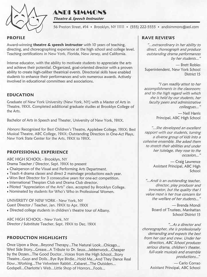 theatre instructor resume sample - Sample Theater Resume